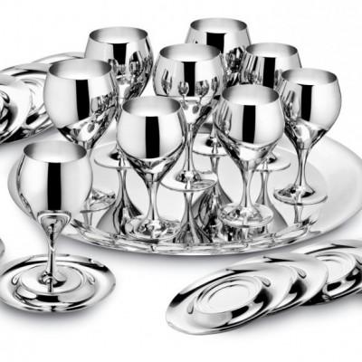 """Комплект """"Принц""""  (на 6 персон стальной, бокалы для воды, бокалы для вина)"""