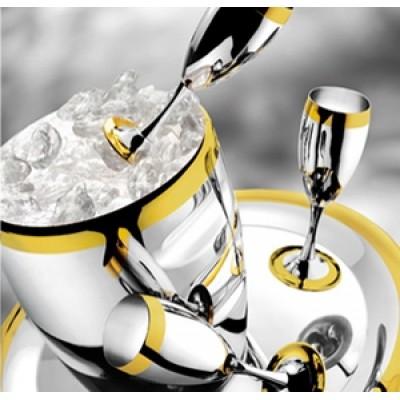 """Набор для шампанского """"Ла Перле""""  (на 6 персон, стальной с золотым декором)"""